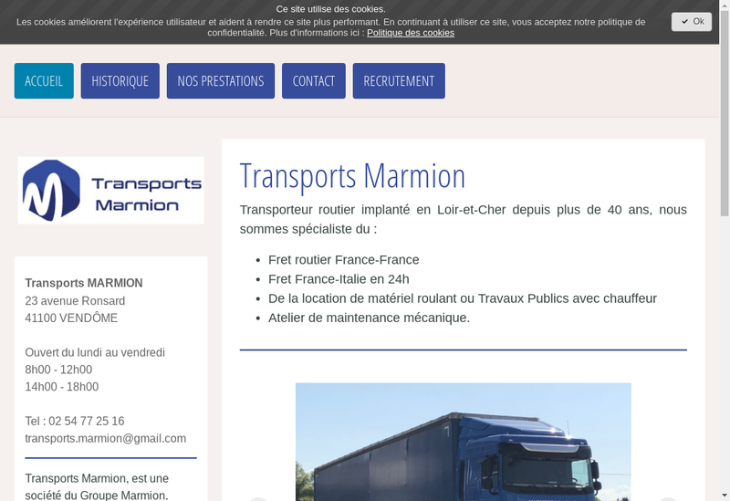 Capture d'écran du site de Transports Marmion