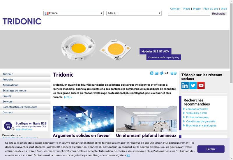 Capture d'écran du site de Tridonic France