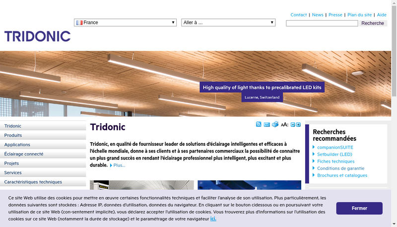 Capture d'écran du site de Tridonic France