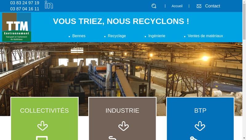 Capture d'écran du site de Ttm Environnement Sante