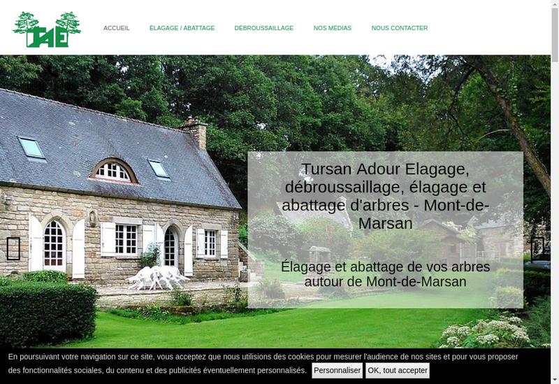 Capture d'écran du site de Tursan Adour Elagage