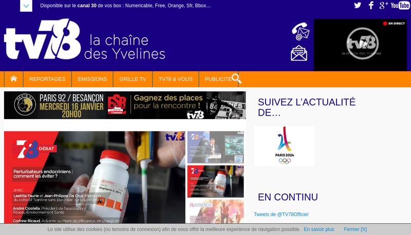 Capture d'écran du site de TV78