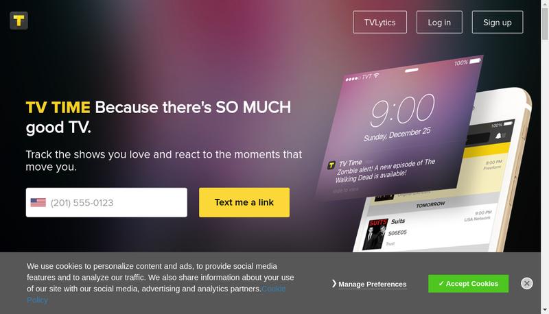 Capture d'écran du site de Tv Show Time , Toze Labs