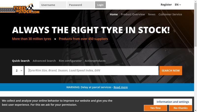 Capture d'écran du site de Tyres In Stock France SARL