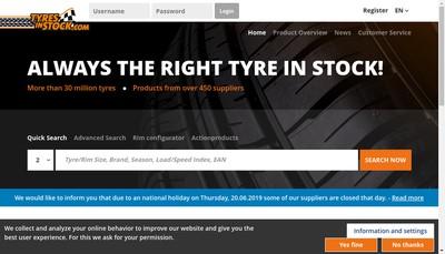 Site internet de Tyres In Stock France SARL