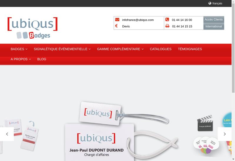Capture d'écran du site de Ubiqus Badges
