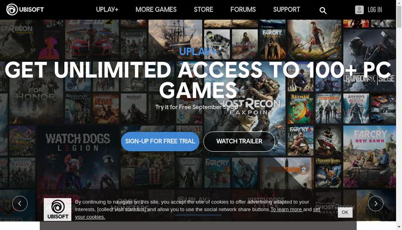 Capture d'écran du site de Ubisoft Entertainment