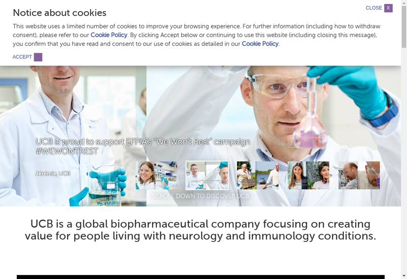 Capture d'écran du site de UCB