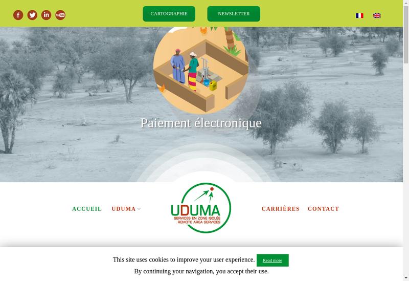 Capture d'écran du site de Uduma