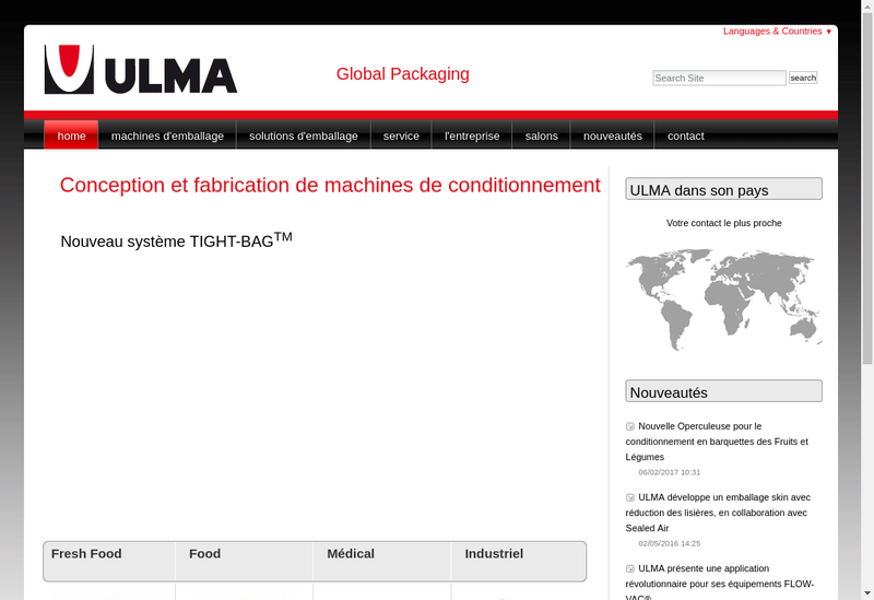 Capture d'écran du site de Ulma Packaging