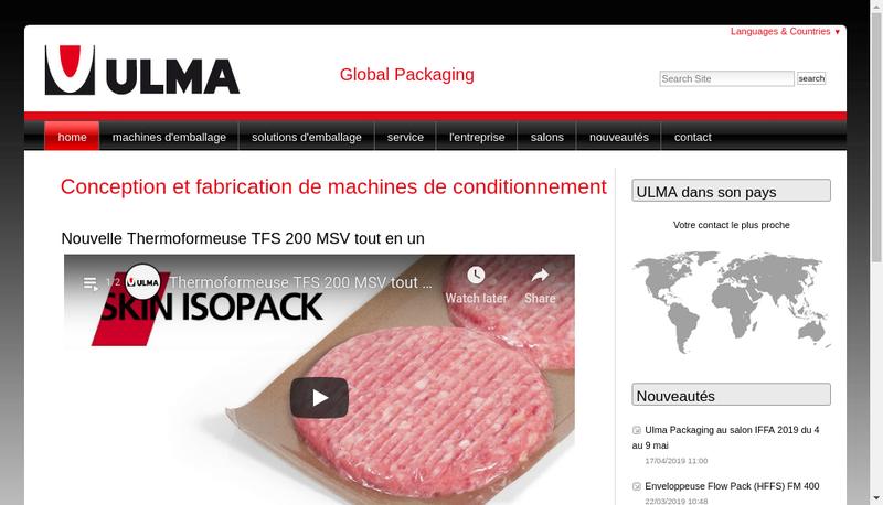Capture d'écran du site de Ulma Packaging