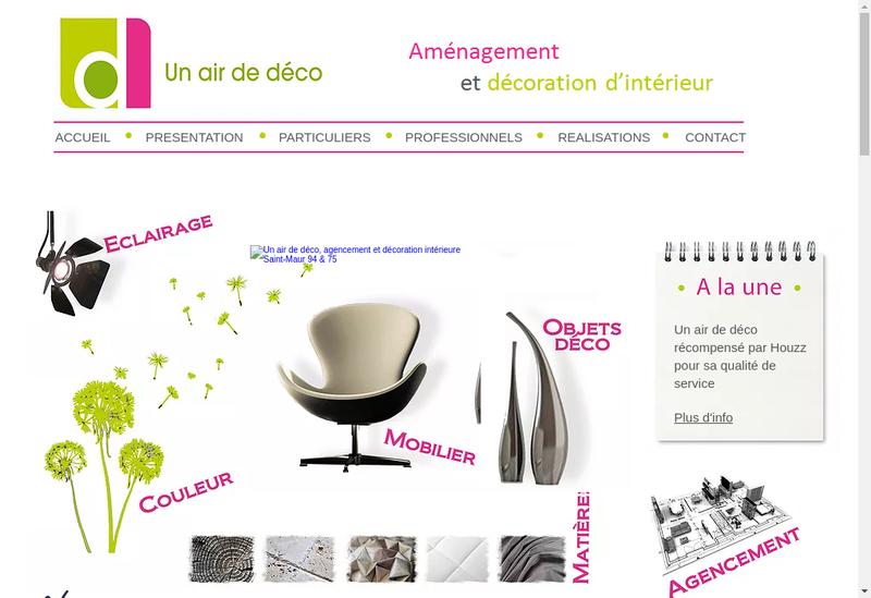 Capture d'écran du site de Un Air de Deco