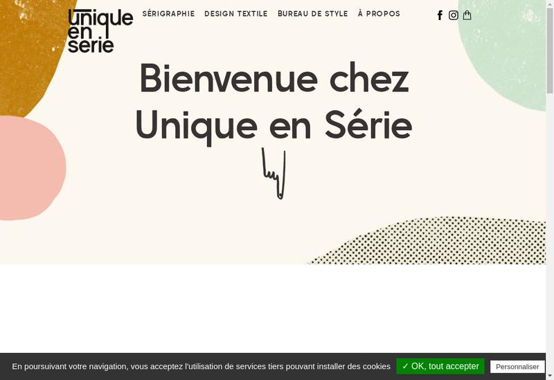 Capture d'écran du site de Unique en Serie