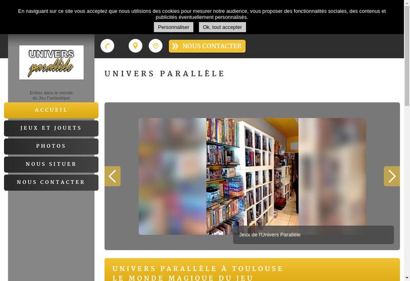 Capture d'écran du site de Univers Parallele