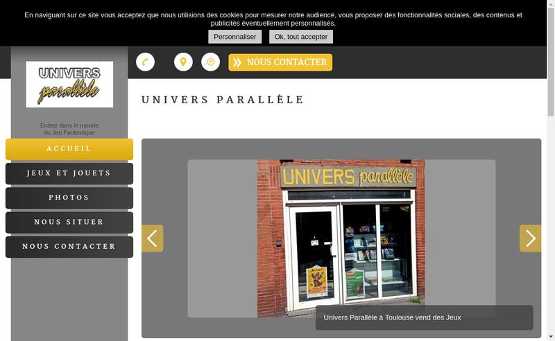 Capture d'écran du site de Univers Paralleles