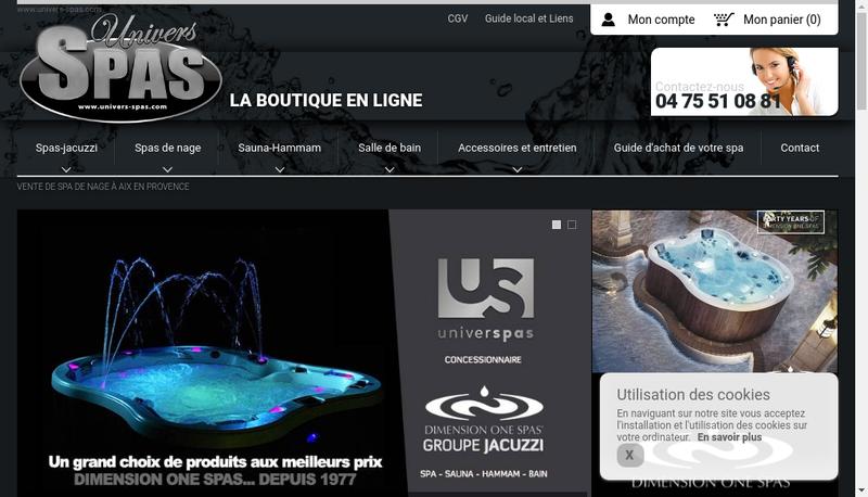 Capture d'écran du site de Univers Spas