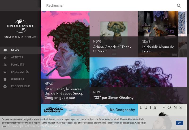 Capture d'écran du site de Polydor - Decca - Deutsche Grammophon