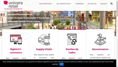 Site internet de Univers Retail