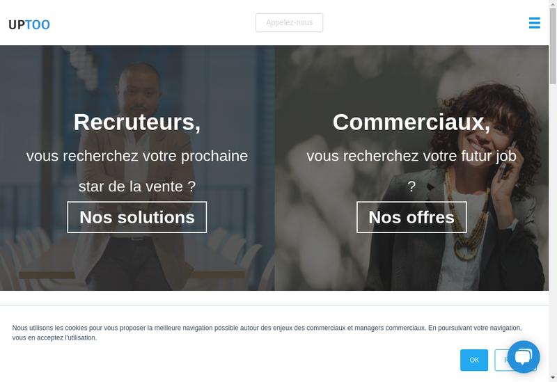 Capture d'écran du site de Uptoo