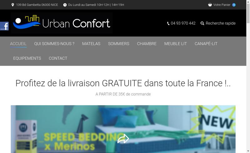 Capture d'écran du site de Urban Confort