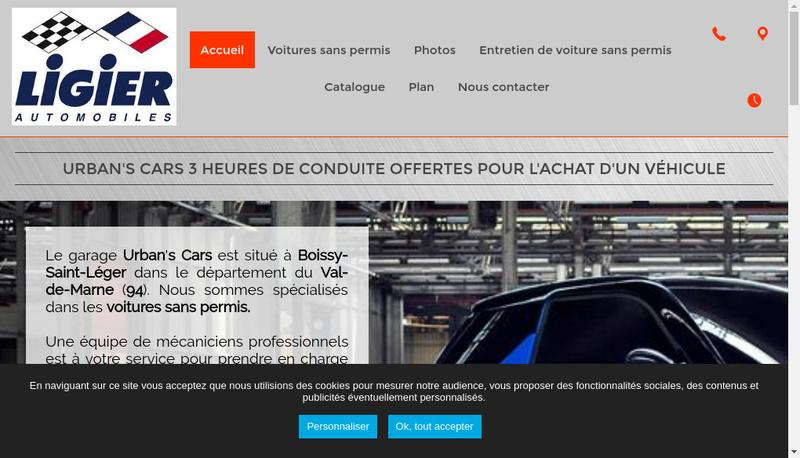 Capture d'écran du site de Urban S Cars
