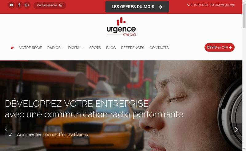 Capture d'écran du site de Urgence Media