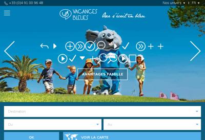 Capture d'écran du site de Vacances Bleues Patrimoine