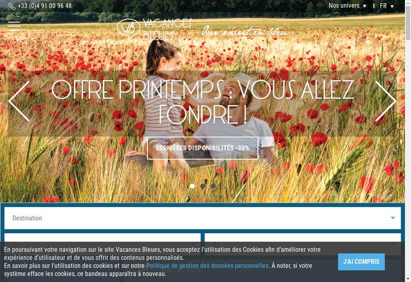 Capture d'écran du site de Vacances Bleues Evasion