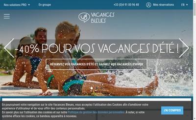 Site internet de Vacances Bleues Patrimoine