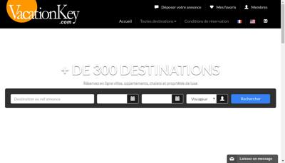 Capture d'écran du site de Vacation Key France