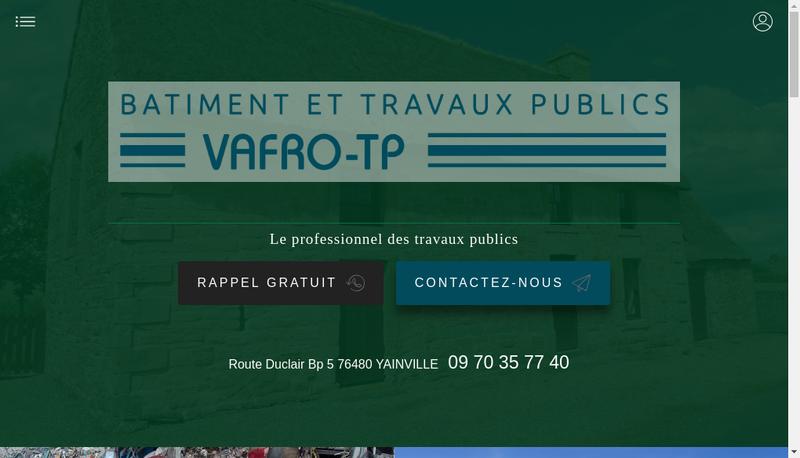 Capture d'écran du site de Vafro Tp