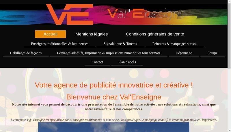 Capture d'écran du site de Val Enseigne