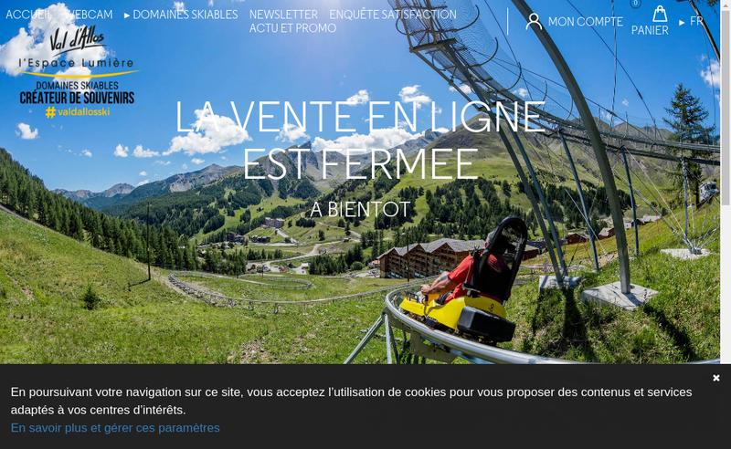Capture d'écran du site de Val d'Allos Loisirs Developpement