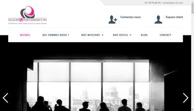 Capture d'écran du site de Valeurs et Performance Rh