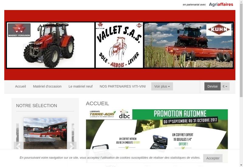Capture d'écran du site de Vallet SAS