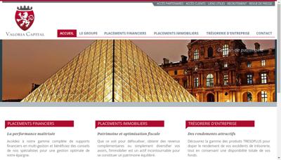 Capture d'écran du site de Valoria Capital