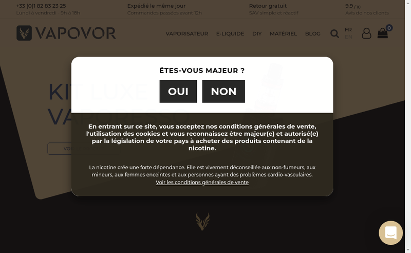 Capture d'écran du site de Vapovor