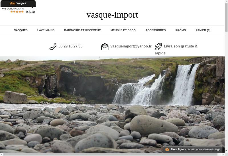 Capture d'écran du site de Vasque Import
