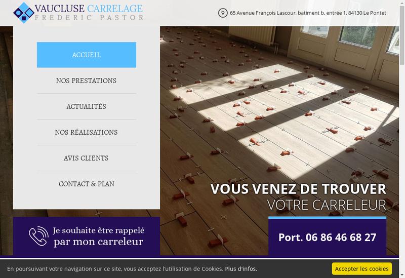 Capture d'écran du site de Vaucluse Carrelage