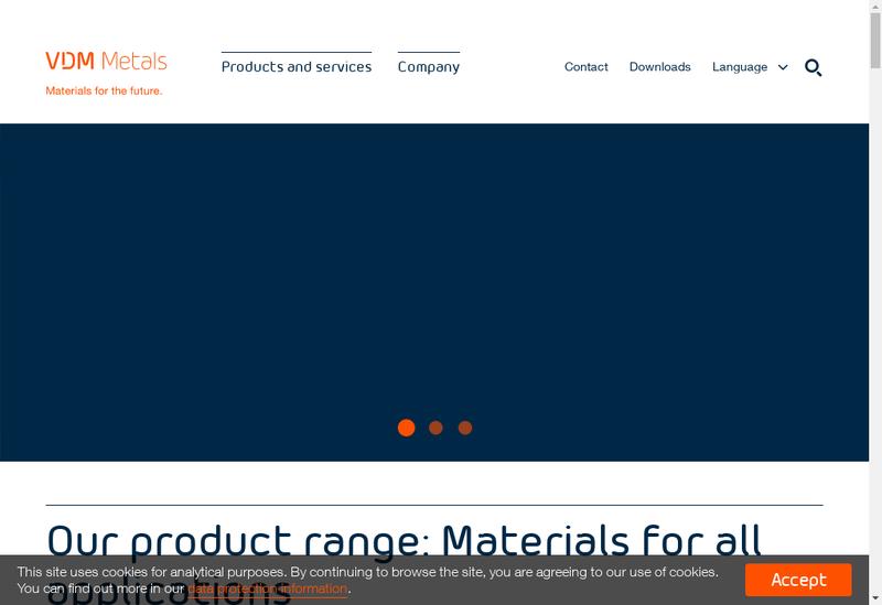 Capture d'écran du site de Vdm Metals France