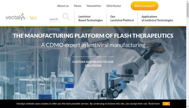 Capture d'écran du site de Flash Therapeutics