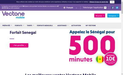 Site internet de Vectone Mobile
