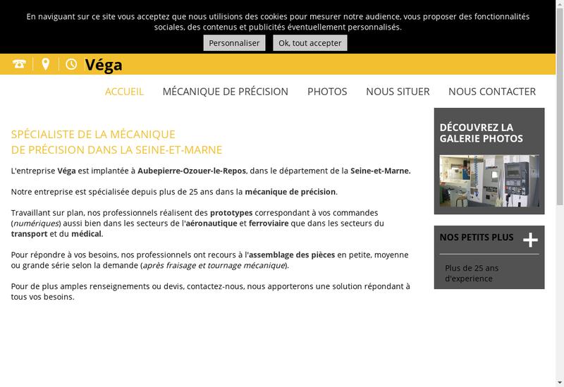 Capture d'écran du site de Etablissements Vega