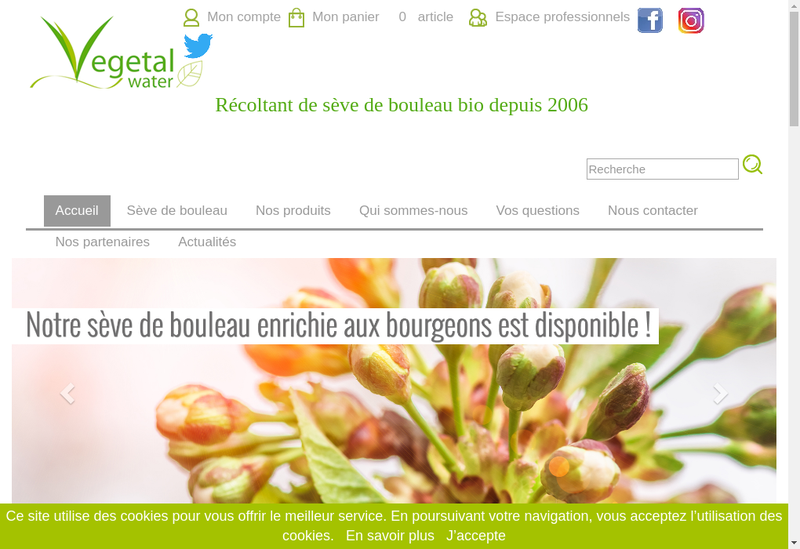 Capture d'écran du site de Vegetal Water