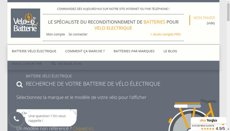 Capture d'écran du site de Batteries Prod