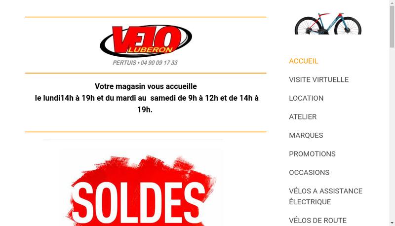 Capture d'écran du site de Velo Luberon