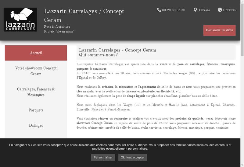 Capture d'écran du site de Lazzarin Carrelages