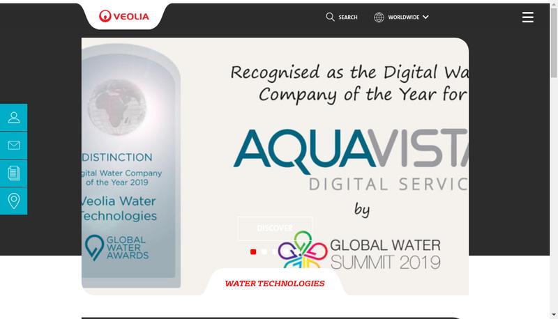 Capture d'écran du site de Veolia Water Technologies Oil & Gas