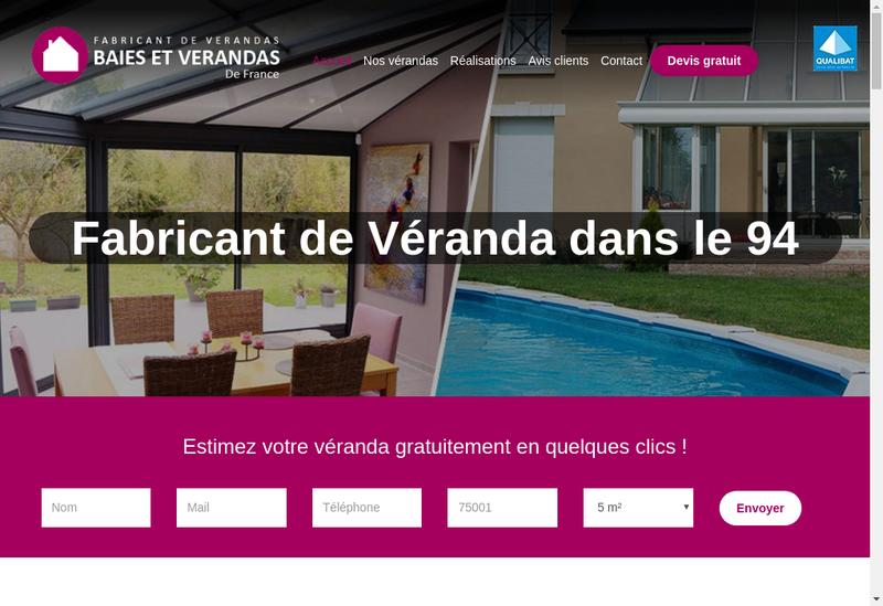 Capture d'écran du site de Verandas & Fenetres de France