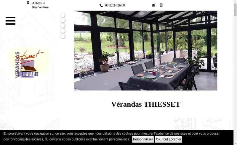 Capture d'écran du site de Verandas Thiesset